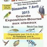 Grande Exposition-Bourse aux Oiseaux et poissons, La Milesse (72), dimanche 07 avril 2013