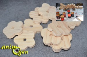 Jouet de patte à fabriquer pour nos perroquets : fleurs en bois et sisal coloré