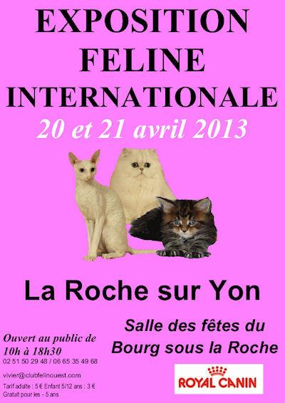 Exposition Féline Internationale à La Roche sur Yon (85), samedi 20 et dimanche 21 avril 2013
