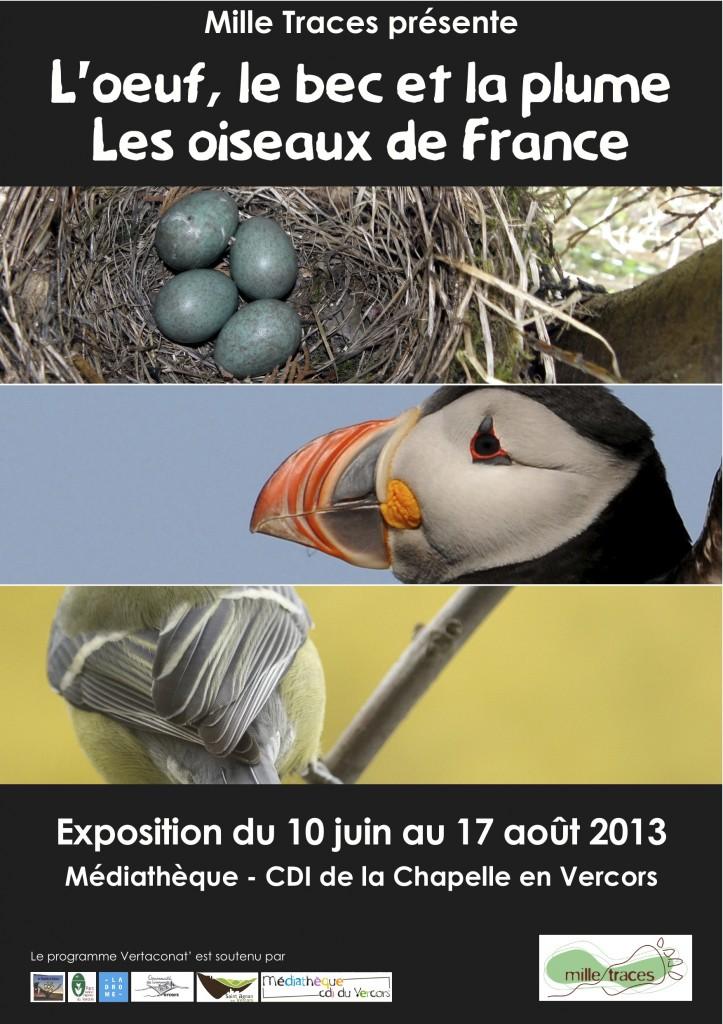 Exposition « L'œuf, le bec et la plume, les oiseaux de France » à la Chapelle en Vercors (26), du 10 juin au 17 août 2013