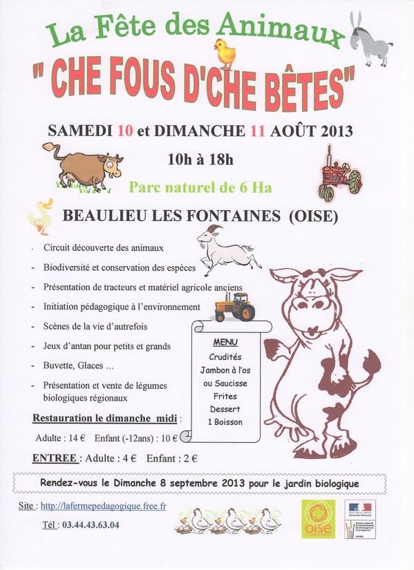 La Fête des Animaux à Beaulieu les Fontaines (60), samedi 10 et dimanche 11 août 2013