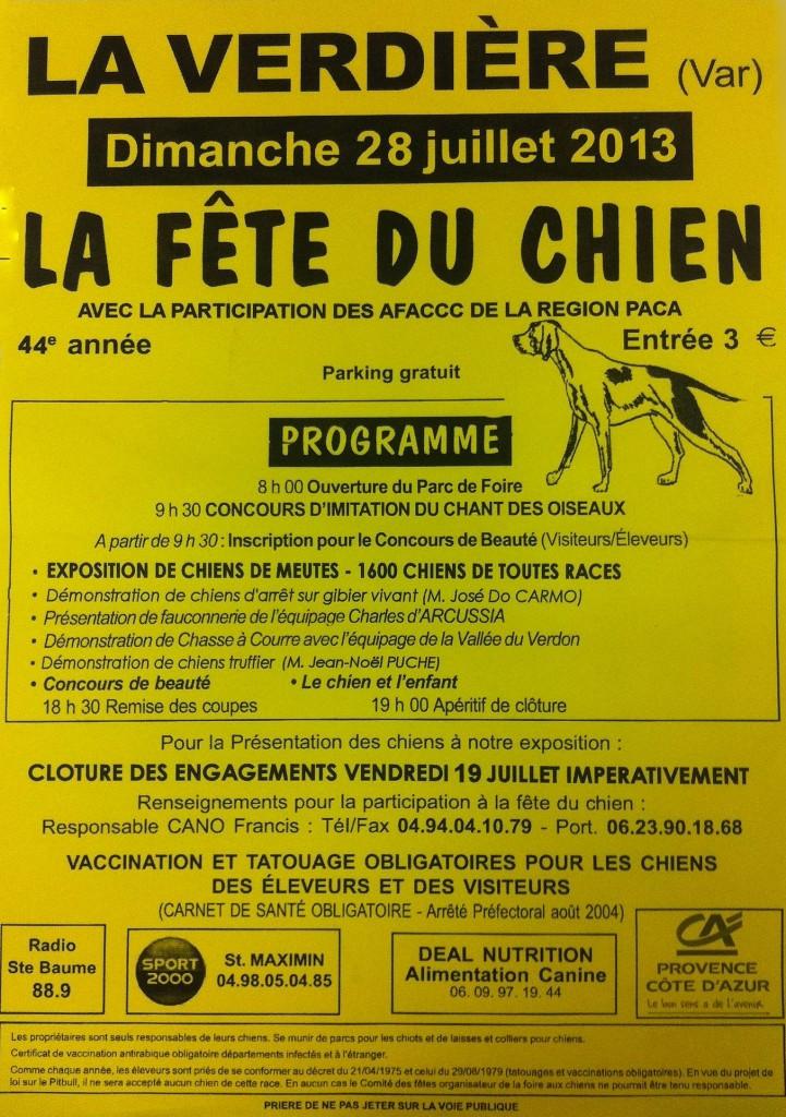 44 ème Fête du chien à La Verdière (83), dimanche 28 juillet 2013