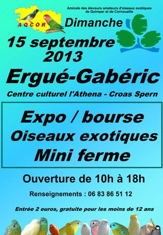 Bourse aux oiseaux à Ergué-Gaberic (29), le dimanche 15 septembre 2013