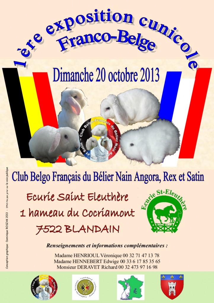 1 ère Exposition Cunicole Franco-Belge à Blandain (Belgique), le dimanche 20 octobre 2013.