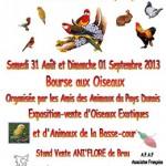 Bourse aux oiseaux à Bonneval (28), samedi 31 août et dimanche 01 er septembre 2013