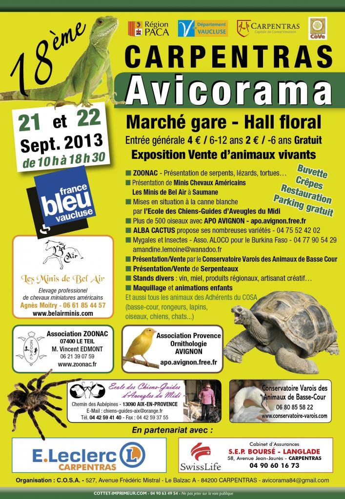 18 ème Avicorama à Carpentras (84), du samedi 21 au dimanche 22 septembre 2013
