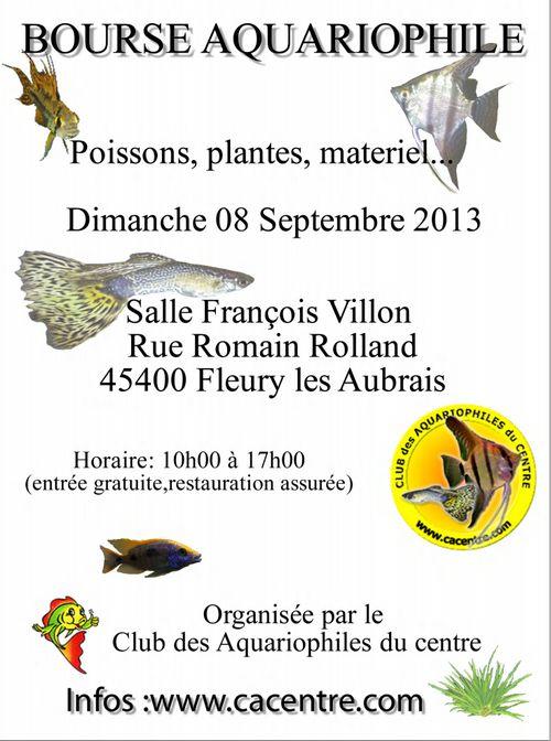 Bourse aquariophile à Fleury les Aubrais (45), le dimanche 08 septembre 2013