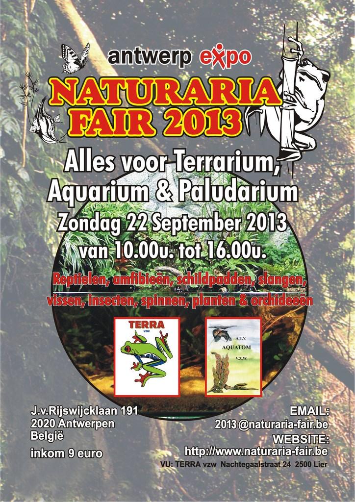 11 ème Bourse aux reptiles « Naturaria » à Anvers (Belgique), le dimanche 22 septembre 2013