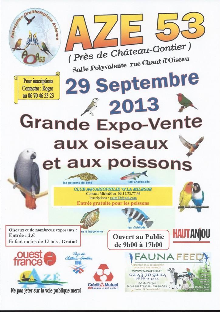 2 ème Grande Expo-Vente aux oiseaux et aux poissons à Aze (53), le dimanche 29 septembre 2013