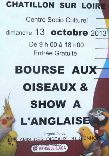 Bourse aux oiseaux et Show à l'Anglaise à Châtillon sur Loire (45), le dimanche 13 octobre 2013