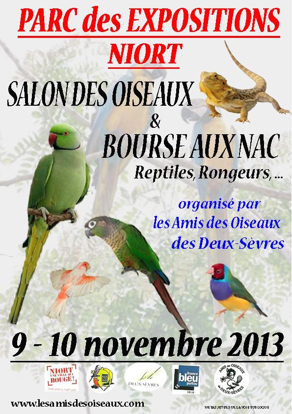 40 ème Salon des oiseaux et bourse aux NAC, reptiles, rongeurs, etc à Niort (79), du samedi 09 au dimanche 10 novembre 2013