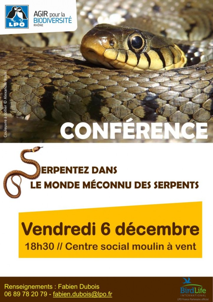 Conférence « Serpentez dans le monde des reptiles » à Vénissieux (69), le vendredi 06 décembre 2013