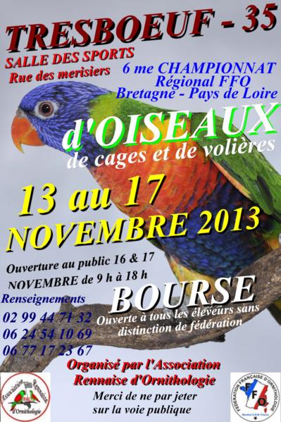 6 ème Championnat FFO et Bourse d'oiseaux de cage et de volière à Tresboeuf (35), du mercredi 13 au dimanche 17 novembre 2013