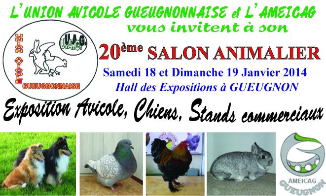 20 ème Salon Animalier à Gueugnon (71), du samedi 18 au dimanche 19 janvier 2014