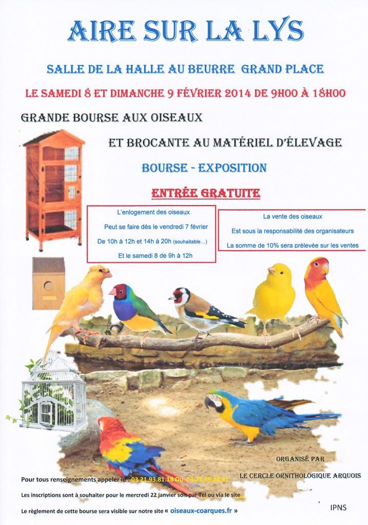 Grande bourse aux oiseaux à Aire sur la Lys (62), du samedi 08 au dimanche 09 février 2014