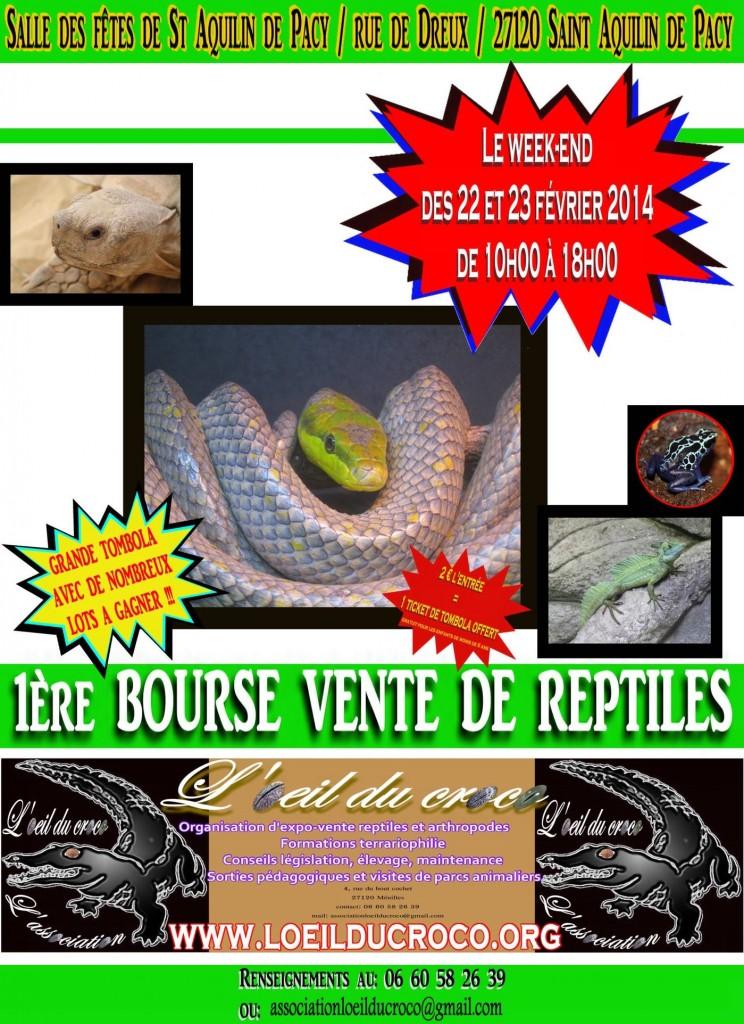 1 ère Bourse aux reptiles à Saint Aquilin de Pacy (27), du samedi 23 au dimanche 24 février 2014