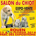 Salon du chiot à Rouen (76), du samedi 15 au dimanche 16 février 2014