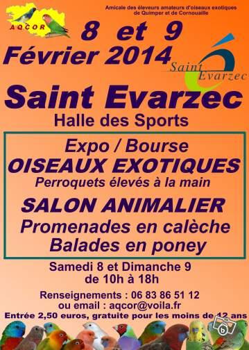 Exposition-Bourse aux oiseaux exotiques et salon animalier à Sallertaines (29), du samedi 08 au dimanche 09 février 2014
