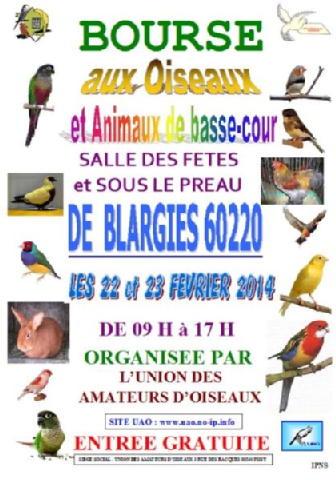 Bourse Oiseaux et Animaux de Basse-cour à Blargies (60), du samedi 22 au dimanche 23 février 2014