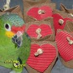 Jouet à fabriquer pour nos perroquets : berlingot de la Saint Valentin