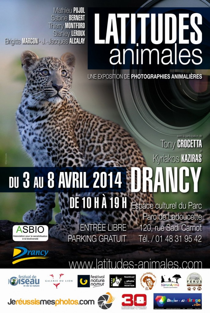 Exposition de photographies animalières « Lattitudes animales » à Drancy (93), du jeudi 03 au mardi 08 avril 2014