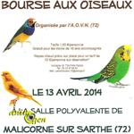 Bourse aux oiseaux à Malicorne sur Sarthe (72), le dimanche 13 avril 2014