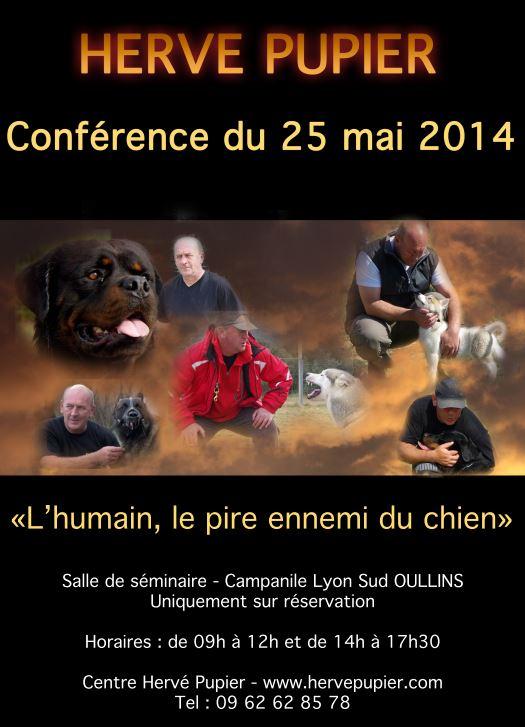 Conférence « L'humain, le pire ennemi du chien » à Lyon (69), le dimanche 25 mai 2014