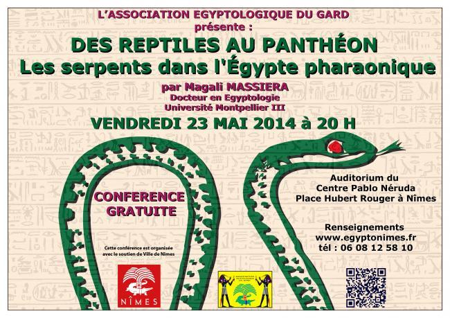 Conférence « Des reptiles au Panthéon » à Nîmes (30), le vendredi 23 mai 2014
