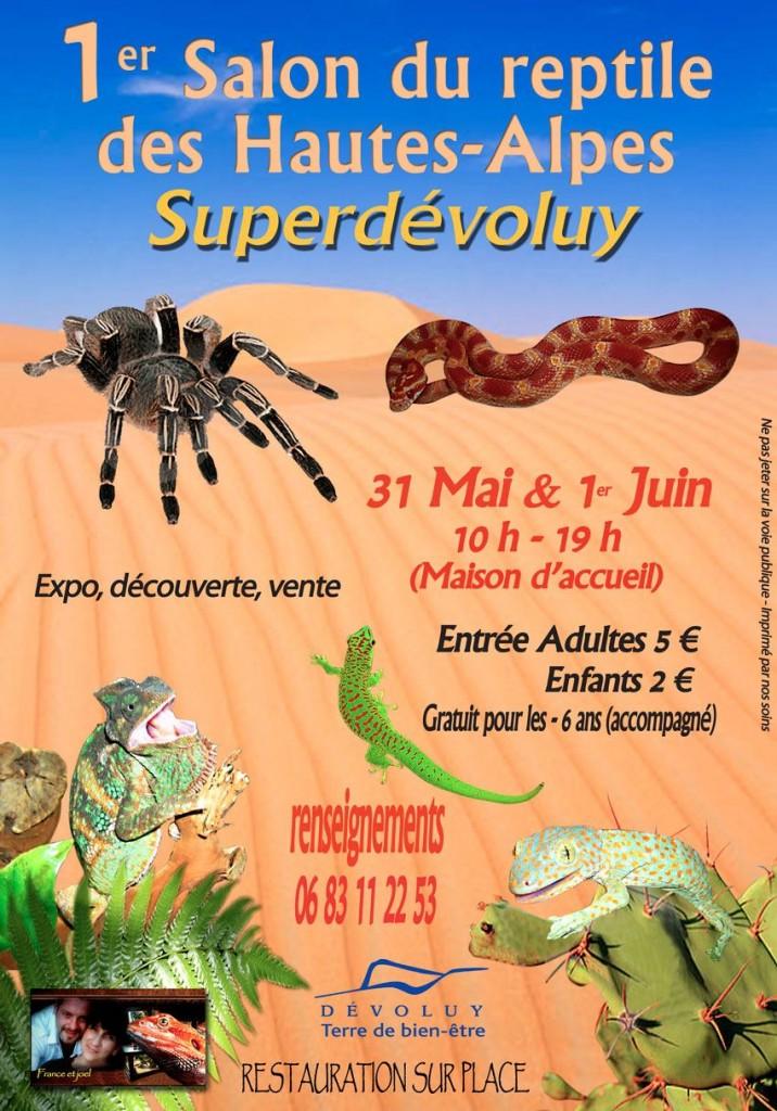 1 er Salon du reptile des Hautes-Alpes au Superdévoluy (05), du samedi 31 mai au dimanche 1 er juin 2014