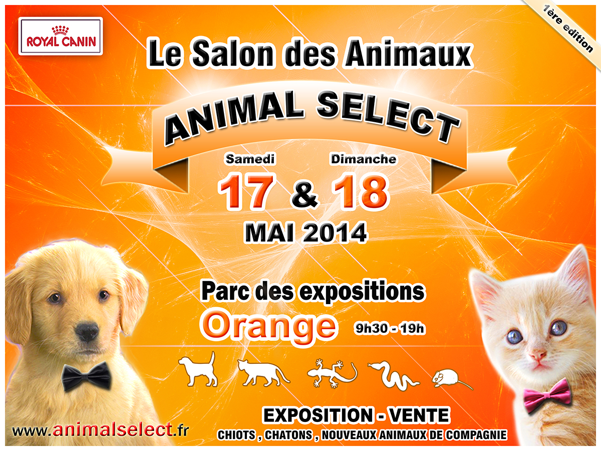 salon des animaux animal select orange 84 du samedi 17 au dimanche 18 mai 2014 animogen. Black Bedroom Furniture Sets. Home Design Ideas