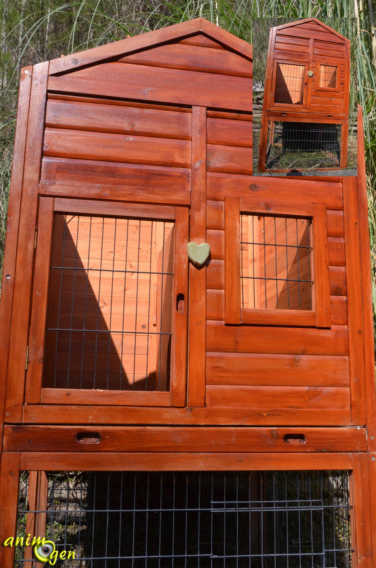 Clapier en bois natura pour lapin gros rongeur et furet for Cabane pour lapin exterieur