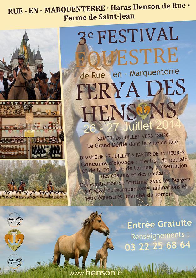 3 ème Festival équestre - Ferya des Hensons à Rue en Marquenterre (80), du samedi 26 au dimanche 27 juillet 2014