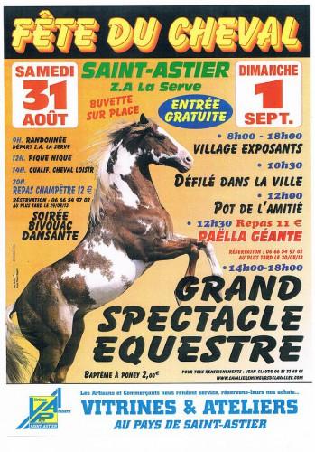 Fête du cheval à Saint Astier (24), du samedi 31 août au dimanche 01 er septembre 2014