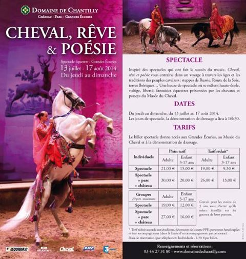 """Spectacle équestre """"Cheval, Rêve et Poésie"""" à Chantilly (60), du jeudi 17 juillet au dimanche 17 août 2014"""