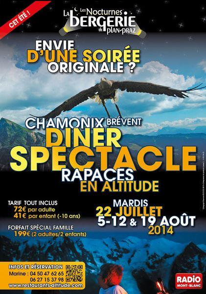 Fauconnerie : les Nocturnes de la bergerie à Plan-Praz (74), les 22 juillet, 05, 12 et 19 août 2014