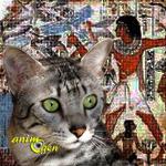 Le chat Mau égyptien et le scarabée sacré