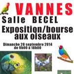 Exposition et Bourse aux oiseaux à Vannes (56), le dimanche 28 septembre 2014