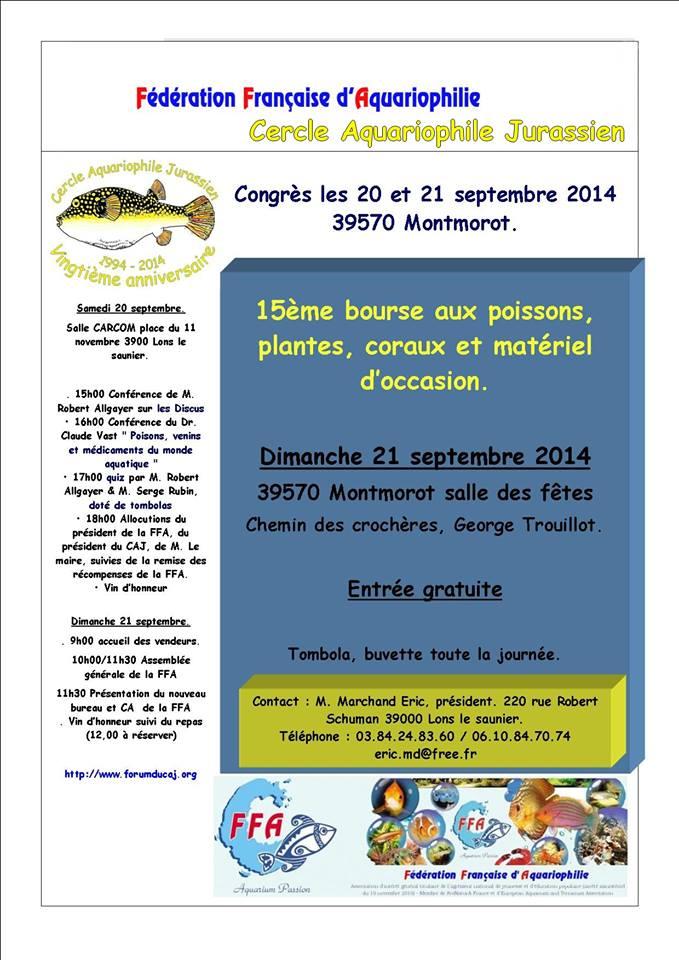 15 ème Bourse aux poissons, plantes, coraux et matériel d'occasion à Montmorot et Lons le Saunier (39), du samedi 20 au dimanche 21 septembre 2014