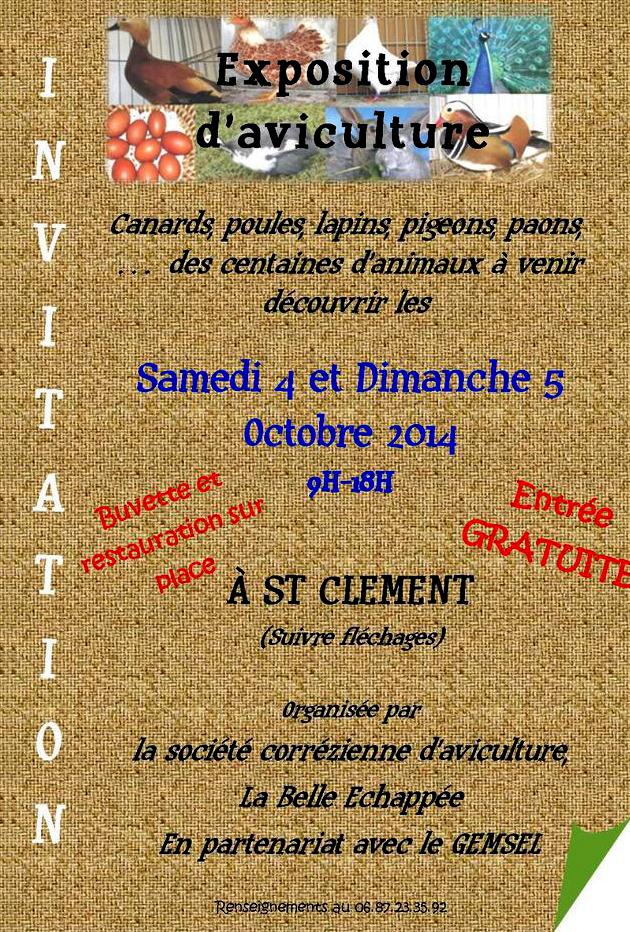 Exposition d'aviculture à Saint Clément (19), du samedi 04 au dimanche 05 octobre 2014