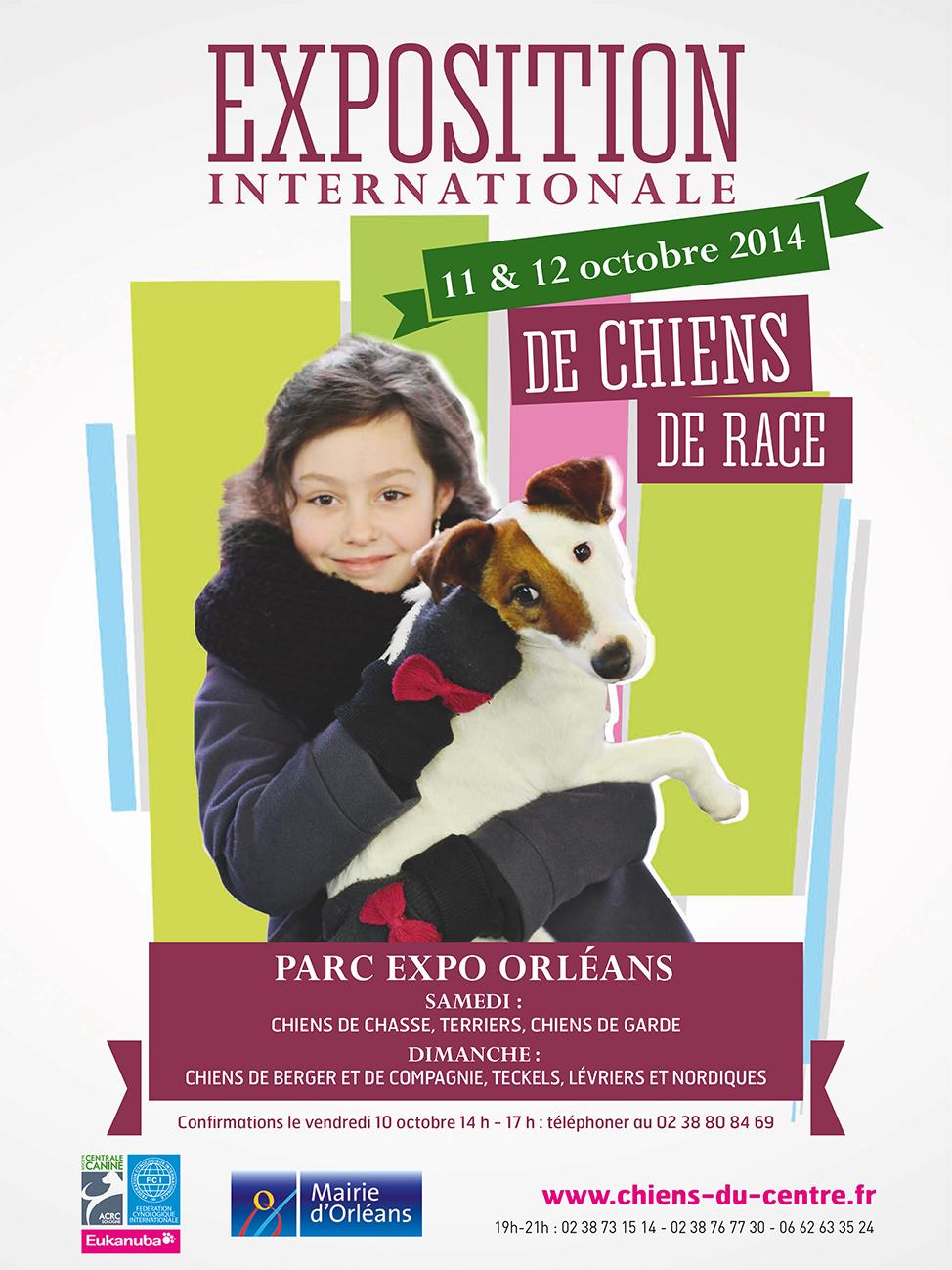 Exposition Internationale de Chiens de race à Orléans (45), du samedi 11 au dimanche 12 octobre 2014