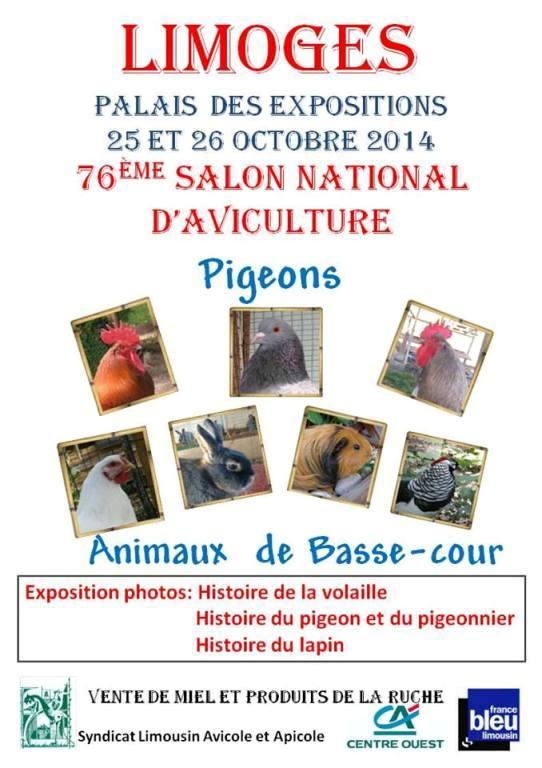 76 ème Salon National d'Aviculture à Limoges (87), du samedi 25 au dimanche 26 octobre 2014