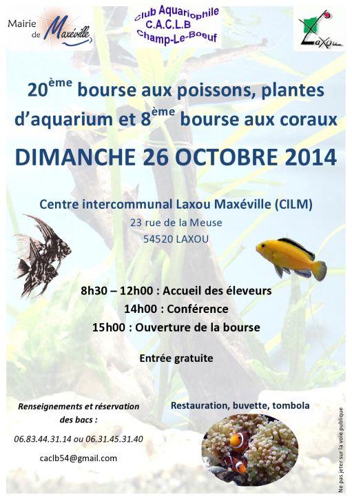 Bourse aux poissons, plantes et coraux à Laxou (54), le dimanche 26 octobre 2014