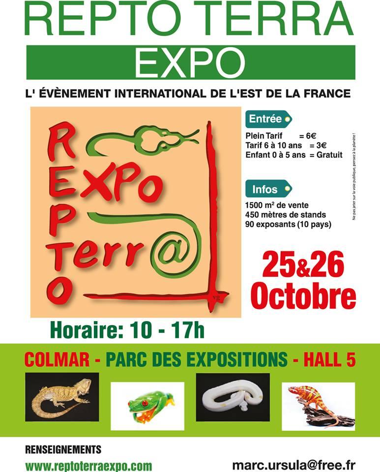 """Repto Terra Expo"", Bourse aux Reptiles à Colmar (68), du samedi 25 au dimanche 26 octobre 2014"