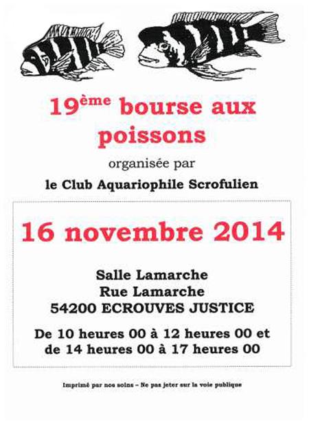 19 ème Bourse aux poissons à Ecrouves Justice (54), le dimanche 16 novembre 2014