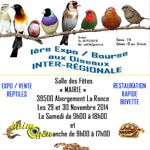 1 ère Expo/Bourse aux oiseaux inter-régionale à Abergement la Ronce (39), du samedi 29 au dimanche 30 novembre 2014