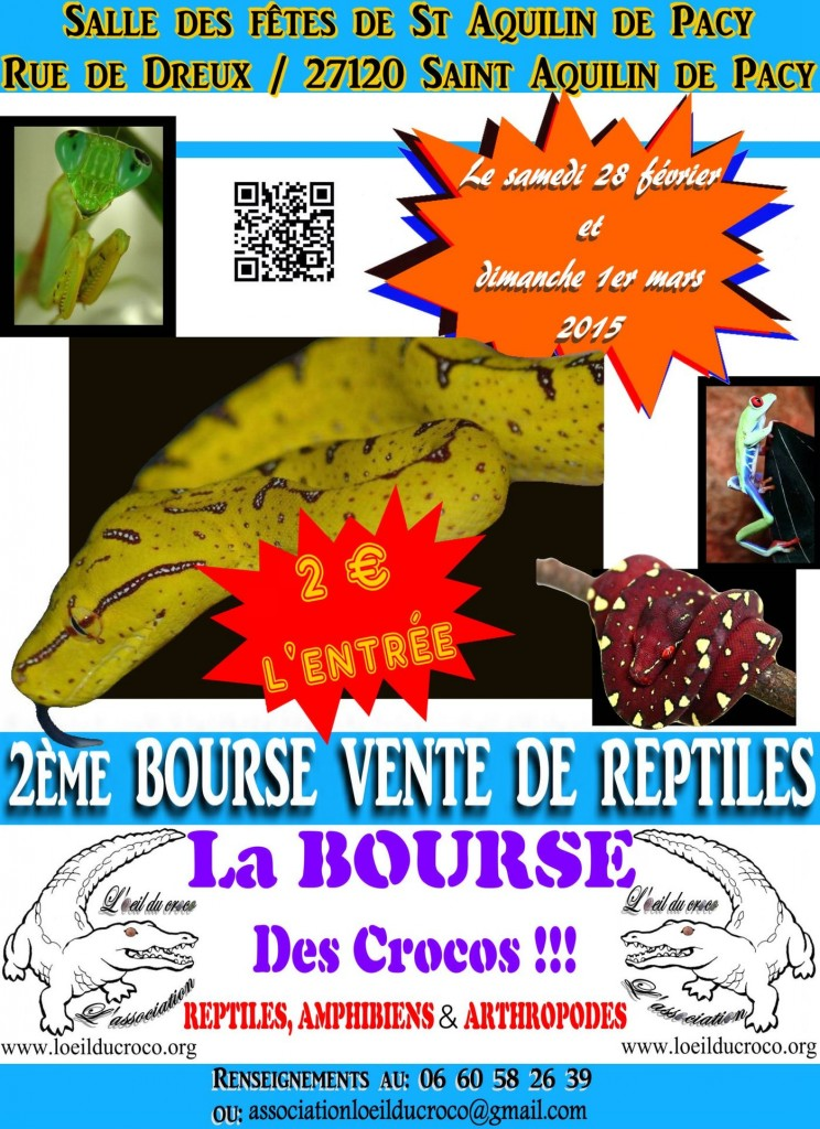 2 ème Bourse-Vente de Reptiles à Saint-Aquilin de Pacy (27120), du samedi 28 février au dimanche 1 er mars 2015