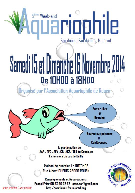 5 ème Week-end aquariophile à Rouen (76), du samedi 15 au dimanche 16 novembre 2014
