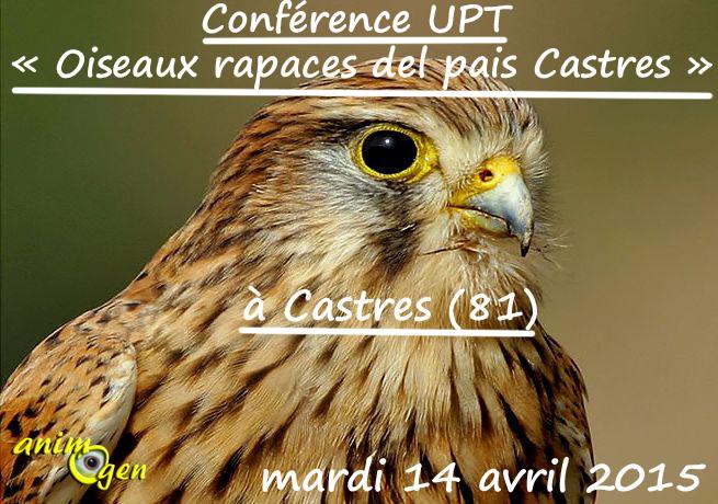 Conférence UPT « Oiseaux rapaces del pais Castres » à Castres (81), le mardi 14 avril 2015