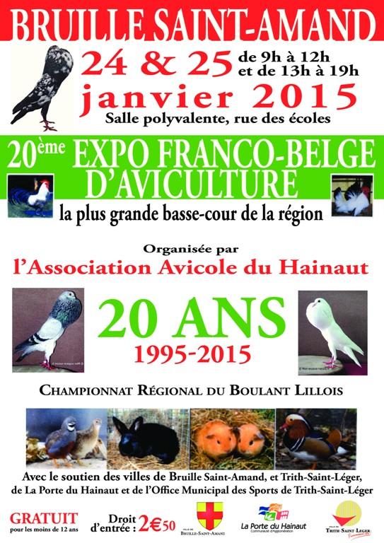 20 ème Exposition avicole franco-belge à Bruille Saint Amand (59) du samedi 24 au dimanche 25 janvier 2015