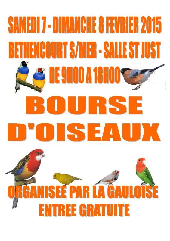 Bourse d'Oiseaux à Béthencourt sur Mer (80), du samedi 07 au dimanche 08 février 2015